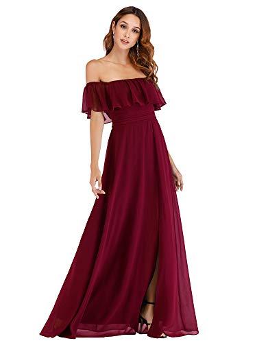 Ever-Pretty Women's Plus Size Wedding Dresses Off Shoulder Chiffon Maxi Dress Burgundy US20