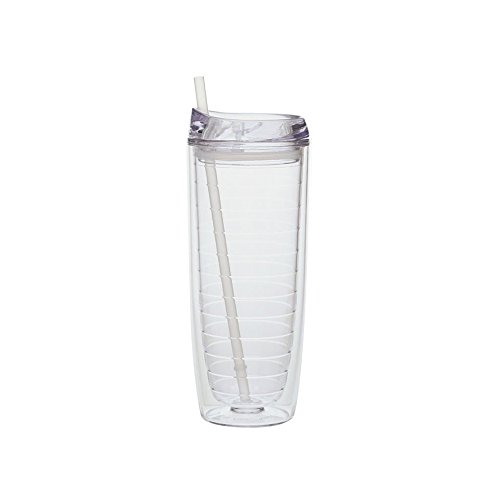Culver Cool Cup Double Walled Insulated Tall Tumbler with Lid and Straw, 20-Ounce, Clear, (Single)