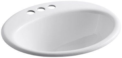 KOHLER K-2905-4-0 Farmington Self-Rimming Bathroom Sink, White