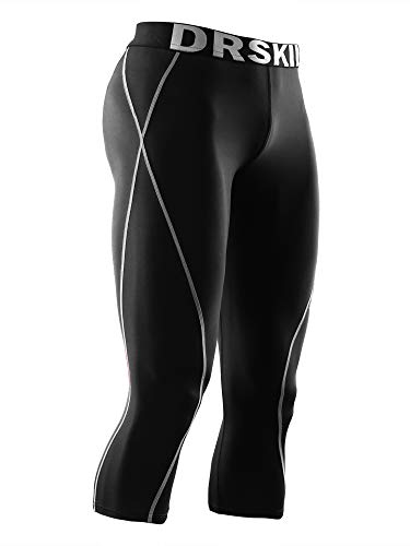 (DRSKIN] Tight 3/4 Compression Pants Base Layer Running Pants Men (2XL, BG801))