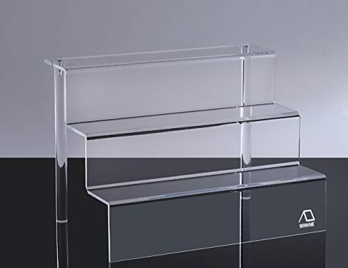 (WINKINE 2 Pack Clear Acrylic Riser Display Shelf for Amiibo Funko POP Figures, 3-Tier Cupcakes Stand for Cabinet, Countertops, Table, Large(9x12 inch) )