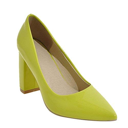 Lime Green Pumps - Latasa Womens Solid Color Pointed Toe Block High Heels Dress Pumps (8, Lime Yellow)