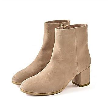Heart&M Mujer Zapatos Ante Otoño Invierno Botas de Moda Botas Tacón Robusto Dedo redondo Botines Hasta