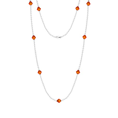 Swarovski Chain Necklace Sterling Silver Fire Opal Color Bicon Beads Station Necklace for Women and Girls (Opal Bead Sets)