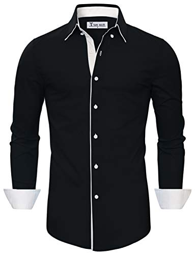 TAM WARE Mens Classic Slim Fit Contrast Inner Long Sleeve Dress Shirts TWNMS314-1-337S-BLACK-US XL