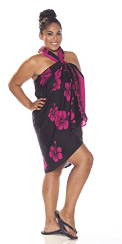 Floral Plus Size Rose Fringeless flower 1 Sarong Femmes Noir Sarongs Avec World tYqCItwxH