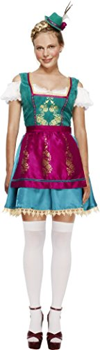 [Smiffy's Women's Fever Deluxe Dirndl Costume, Dress, Attached Underskirt, Hat and Apron, Around the World, Fever, Size 6-8,] (Oktoberfest Costumes Australia)