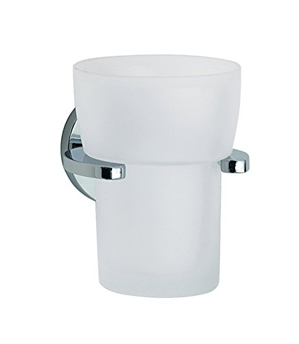 Smedbo SME_LK343 Holder with Glass Tumbler, Polished Chrome - Ginger Polished Toothbrush Holder