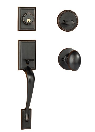 Dynasty Hardware RID-ASP-100-12P Ridgecrest Front Door Handleset, Aged Oil Rubbed Bronze with Aspen Knob ()