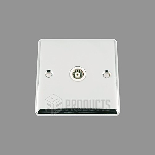 A5 TVS1GCCWH 1 Gang Classic Chrome Polished TV Coaxial Aerial Single Socket with White Insert by A5