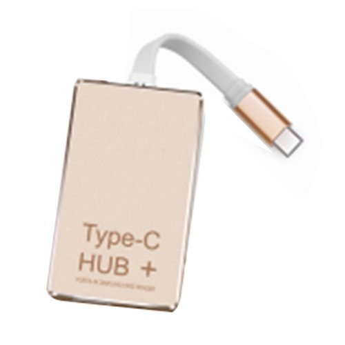 SODIAL(R) 1 pcs light tone type TYPE-C HUB + charge high speed 3.0 card reader 4k hdmi aluminum alloy usb-c converter - Tiffany Card Charge