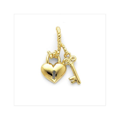 14k Yellow Gold Heart and Key Slide Pendant 14k Yellow Slide