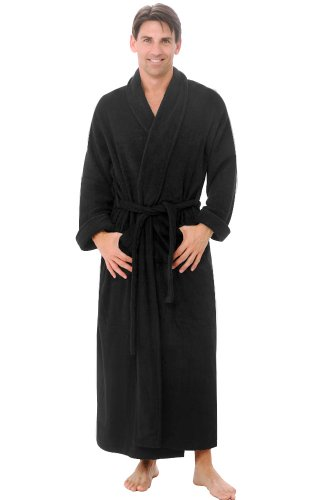Del Rossa Mens Turkish Terry Cloth Robe, Long Cotton Bathrobe, Large XL Navy Blue (A0126NBLXL) (Robes Cloth Terry Turkish)