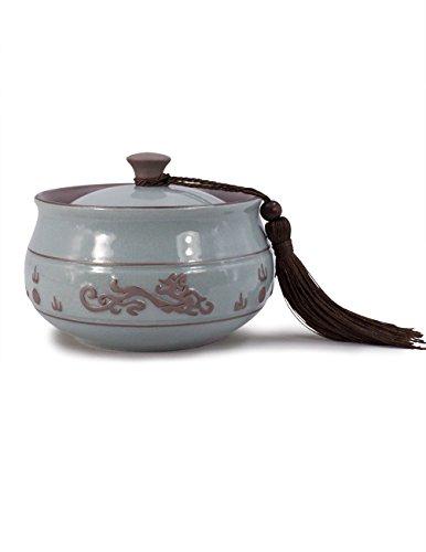 - Dahlia Embossed Dragon Crack Celadon Porcelain Loose Tea Tin/Tea Storage/Tea Caddy/Tea Canister