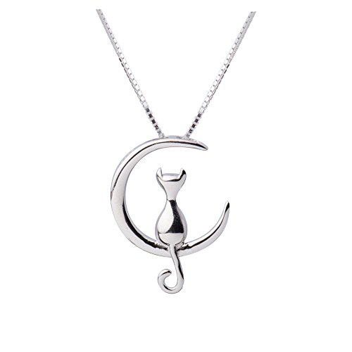 S.Leaf Cat Moon Necklace Sterling Silver Cat and Moon Collar Necklace 31C 2BuE7xYFL