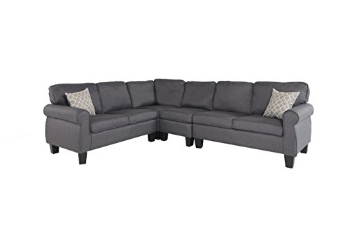 Oliver and Smith Fur_s296DarkGrey_Prime Sectional Sofa Grey