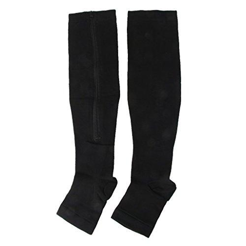 MagiDeal Zipper Compression Socks Stockings