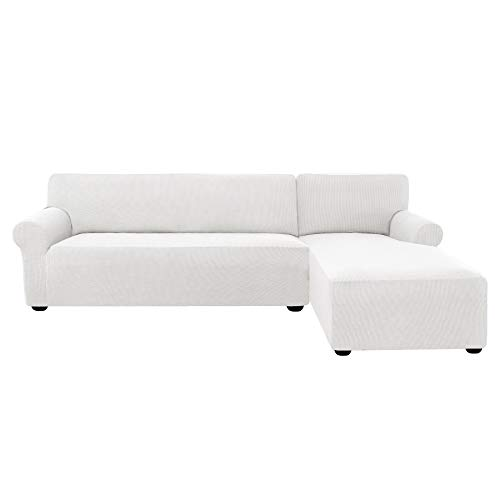 subrtex 2 Pieces L-Shaped Couch Covers Right Chaise Stretch Fabric Sectional Sofa Slipcovers for 3 Seaters(Off-White) (Lounge Chaise 3 With Seater)