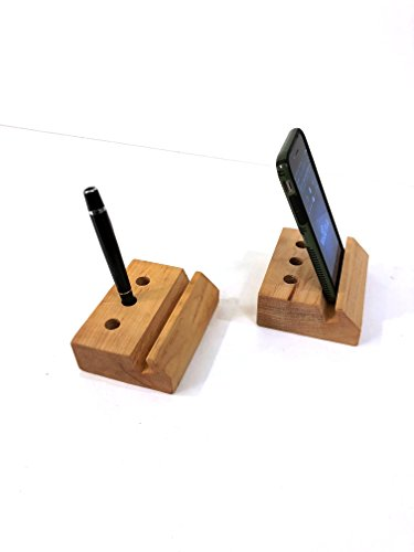 Phone and Pen Holder Desk Organizer in Maple Wood