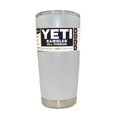 Custom YETI Coolers Powder Coated Insulated Stainless Steel 20 Ounce (20 oz) (20oz) Rambler Tumbler Travel Cup Mug with Lid (Glittered White Pearl)
