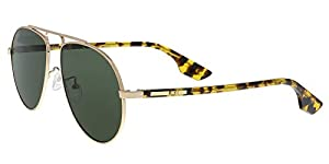 Alexander McQueen MQ0096S 005 Gold/Yellow Havana Aviator Sunglasses