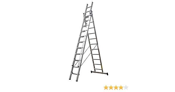 Homelux 825032 Escalera Aluminio Triple, 4 + 4 + 4 m, 3 x 15 Peldaños: Amazon.es: Jardín