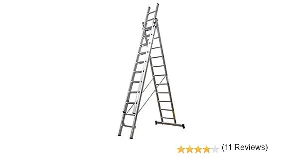 Homelux 825022 Escalera Aluminio Triple, 3 + 3 +3, 3 x 11 Peldaños, 18.5 kg: Amazon.es: Jardín
