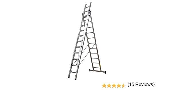 Homelux 825020 Escalera Aluminio Triple, 2 + 2 + 2 m, 3 x 7 Peldaños. 13.25 kg: Amazon.es: Jardín