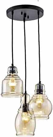jojospring Mariana Antique Black Cognac Glass 3-Light Cluster Pendant Chandelier