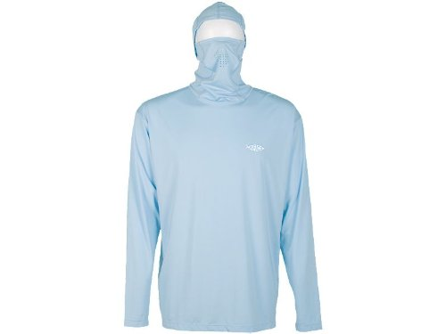 (AFTCO Fish Ninja Ultra Performance Long Sleeve Shirt w/Hood - Blue - XL)