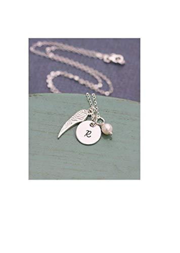 Sterling Silver Memorial Necklace - ROI - Dainty Angel Wing Charm Gift - Baby Family Member Loss - Handstamped Remembrance Jewelry - Personalized Initial - Fast 1 Day Production (Post Angel)