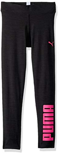 PUMA Big Girls' Heathered Legging, Ebony, -