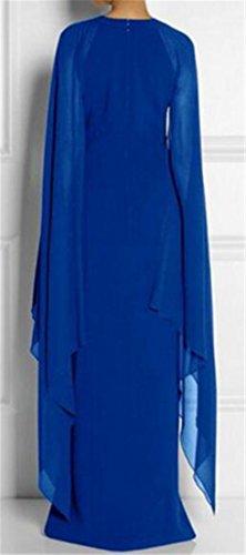 Cruiize Femmes Chauve-souris Manchon De Raccordement Du Côté De La Fente De Mousseline Ballgown Solide Robe Maxi Bleu Royal