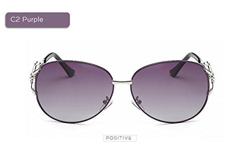 piloto Gafas polarizadas Tama C2 C1 de Vintage o de Gafas Caja Gran de Caja UV400 de de Calientes Mujeres Rayos Negro piloto Las Sol P¨²rpura AT9011 Fygrend la AIaqZA