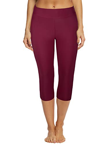 Septangle Women's Swim Pants Capris UPF 50+ Water Outdoor Sport Leggings (20W, Wine Red)