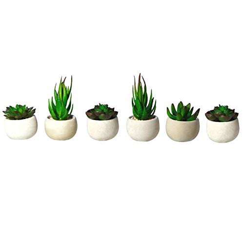 "Houseables Artificial Succulent Plants, Potted Fake Succulents, 6 Pk, 4.25"" x 3"", 3.5""H x 3""W, Small, Faux Flower in Pot, Assorted, Cacti, Aloe, Plant for Desk, Indoor Shelf, Office Décor"