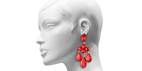 Dominique Denaive Boucles d'oreilles clips pendantes Yoana en résine, rouge ciré