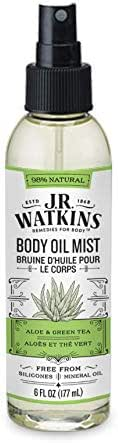JR Watkins Natural Hydrating Body Oil Mist, Aloe and Green Tea, Moisturizing Body Oil Spray for Glowing Skin, USA Made and Cruelty Free, 6 fl oz