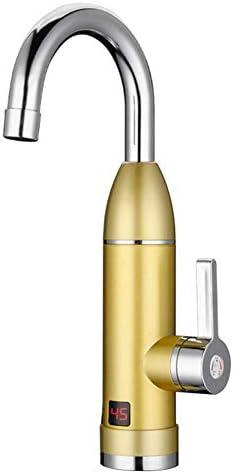 インスタント加熱蛇口、3000W 220V電気キッチンヒーターホットコールドデュアル使用迅速にLEDディスプレイ付きタップシャワーを加熱,金