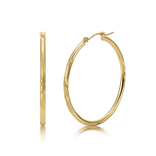 Satin Diamond Cut 14k Yellow Gold 2mm x 35mm Click Top Tube Hoop Earrings - By Kezef ()