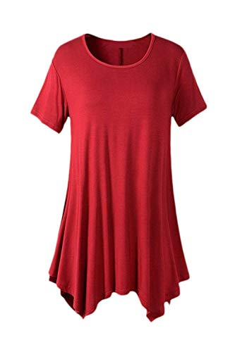 Style Spcial Tee Tops Manches Rond Branch Manche Irrgulier Moderne Et Uni Shirt Tshirt Col Elgante Top Courtes Femme Mode Bouffant Casual Rouge Style qFwA6rq