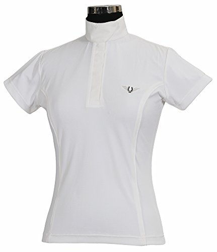 TuffRider Women's Kirby Kwik Dry Short Sleeve Show Shirt, White/White, 1X (Ladies Show Shirt)
