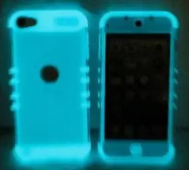 r IPOD TOUCH 5th & 6th GENERATION [CLEAR + Glow in the Dark SILICONE] Hybrid Hard & Soft Rubber Dual Layer Armor Case Cover & Stylus Pen (iPod 5 & iPod 6) ()