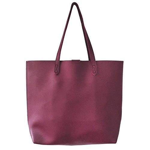 Women's Oversize Tote Bag Shoulder Bag Handbags for Work Travel - Burgundy]()