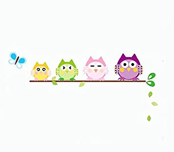 Colorful Many Expressions Owls On A Branch Wall Mural Decals Baby Boys And  Girls Nursery Kids