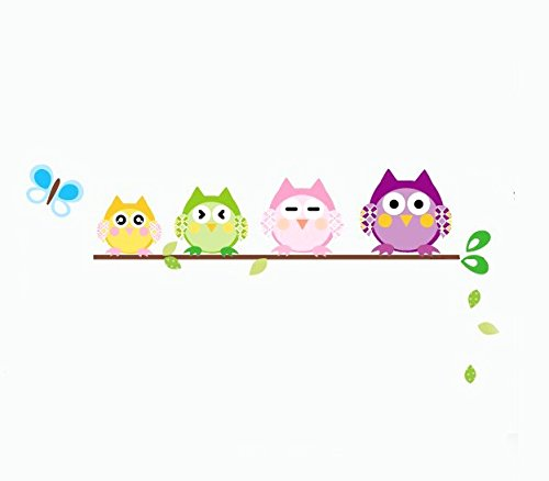 Standing on Branches of the Owl Family Wall Stickers