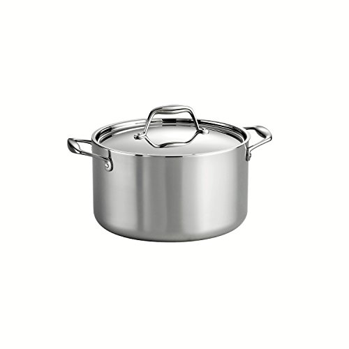 Tramontina 80116/040DS Gourmet Stainless Steel Induction-Ready Tri-Ply Clad Covered Sauce Pot, 6-Quart, NSF-Certified, Made in Brazil by Tramontina
