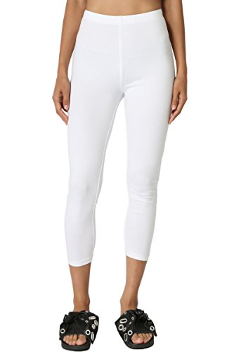 TheMogan Women's Cotton Jersey High Waist Mid Calf Capri Leggings White S