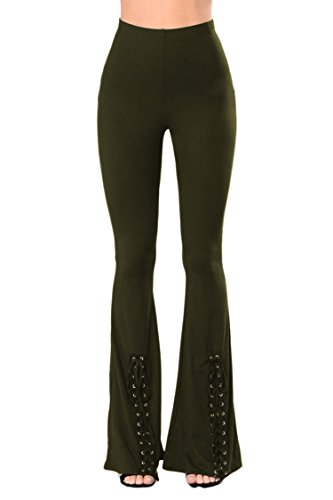 Army Bell (COCOLEGGINGS Womens Bell Bottom High Waist Flared Palazzo Pants Army Green L)