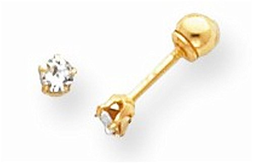 14k Yellow Gold 2mm CZ Earrings with screw backs perfect for little girls